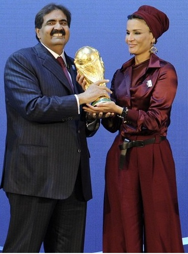 Sheikha Moza with the World Cup trophy