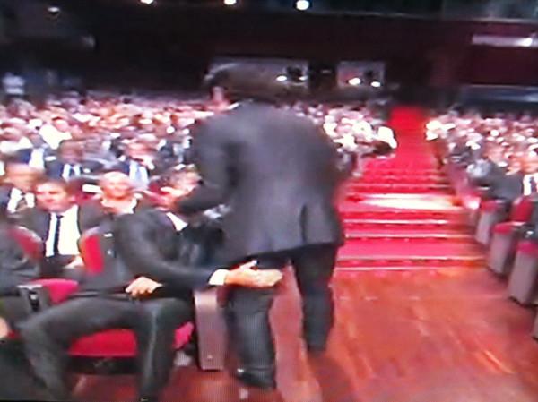 Cristiano Ronaldo trying to touch Luis Figo