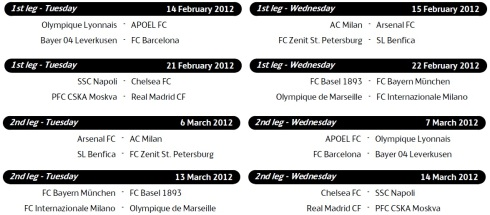champions league last 16 matches schedule