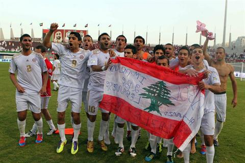 Lebanese Players Celebrating the Qualification