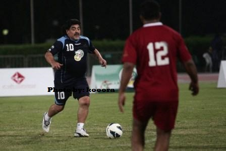 Diego Maradona nearly scores wonder goal in Dubai 7 a side tournament