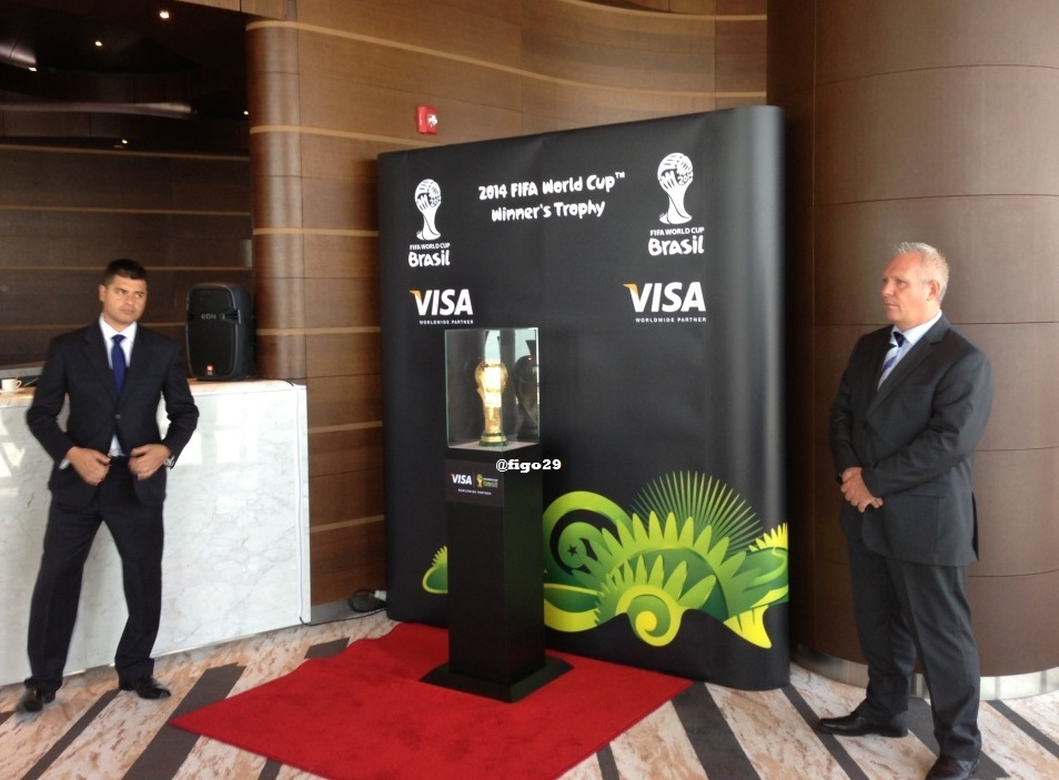 World Cup Winner's Trophy in Burj Khalifa, surrounded by security