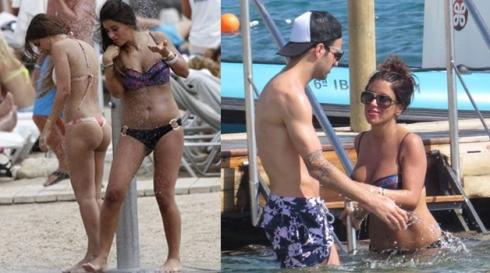 Cesc Fabregas with Daniella Semaan and Antonella Roccuzzo in Ibiza