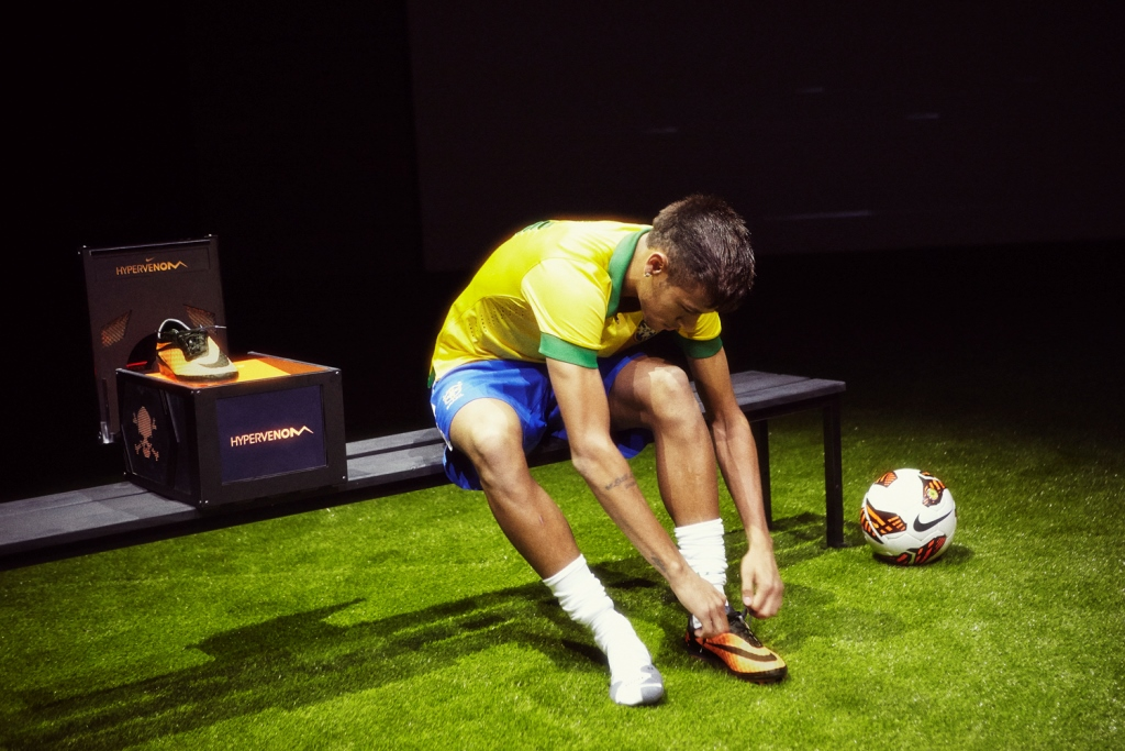 Neymar trying his Nike Hypervenom
