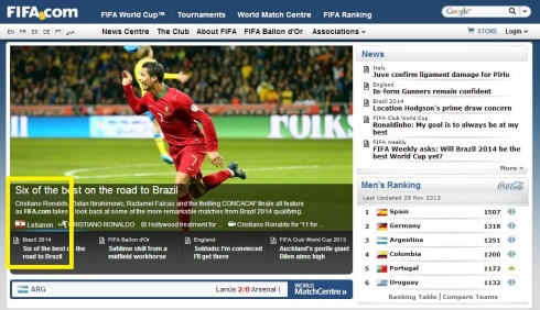 Lebanon featured on FIFA.com