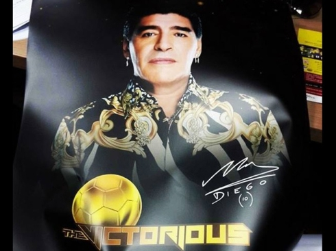 The Victorious Poster with Diego Maradona