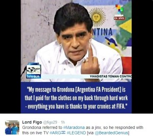 maradona send his regards to Grondona