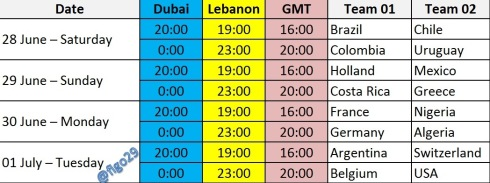 World Cup Matches - Round of 16 - Time Lebanon Dubai GMT