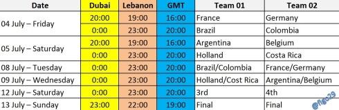 World Cup Matches - Quarter Finals - Time Lebanon Dubai GMT